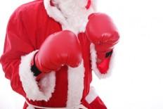 Santa Claus boxing Isolated on white background.