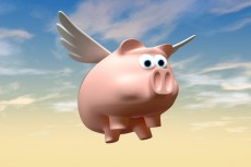 A literal description of a pink pig with a set of wings flying in a cloudy sky