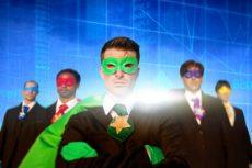 Superhero Business People Strength Cityscape Stock Exchange Concept