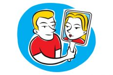 A man looks into a mirror at his female self